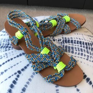 BIMBA Y LOLA | 9 | Rope Sandals, Blue & Lime Green